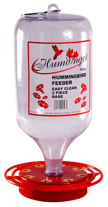 Item #107 – 72oz Easy fill plastic container Guaranteed not to drip. Designed to feed ONLY hummingbirds. Red ABS Plastic base (non-metallic) Full ring perch with 8 feeding stations with metal hanger. Case Qty:12