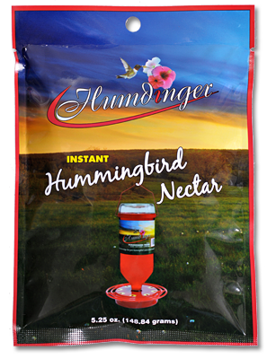 Humdinger Pre-Mix Instant Nectar Item #103 – Hummingbirds will swarm to feeders with Humdinger Pre-Mix Instant Nectar. 5.25 oz. Package Qty: 12/24/48/72